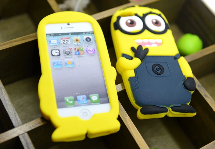 1 Pcs 3D Cute Cartoon Two Eyes Despicable Me 2 Soft Silicone Back Cover For Apple iPhone4 4 4s 4g Rubber case,dropshipping(China (Mainland))
