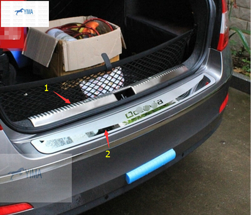 For Skoda Octavia MK3 A7 2015 2016 Stainless Steel Inner + Outer Rear Trunk Bumper Protector Scuff Plate Sill 2pcs / set<br><br>Aliexpress