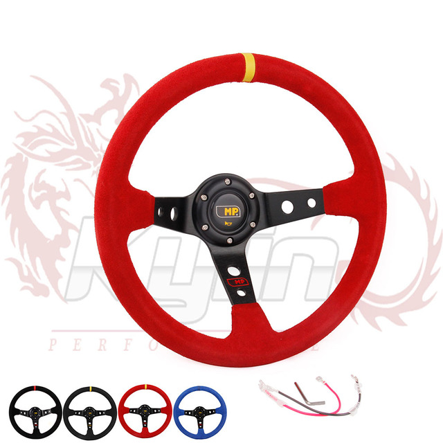 KYLIN STORE - 14inch 350mm Suede Leather OMP Deep Corn Drifting Steering Wheel without red color