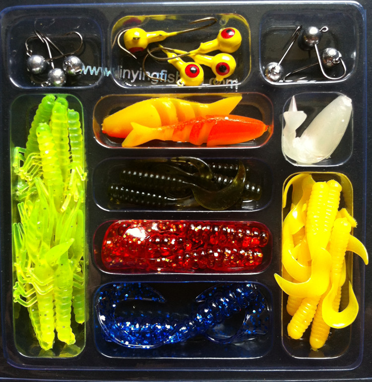 FREESHIPPING soft bait fishing lure set 35pcs soft +10pc jig head Soft plastic lure hook bait sea fishing artificial lures 21031(China (Mainland))