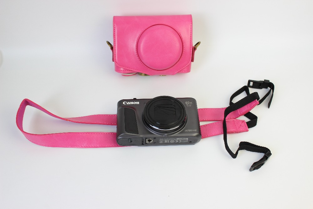 Pink red camera leather case bag pouch cover for Canon SX720 HS, SX720HS, SX720; Ever ready protective(China (Mainland))