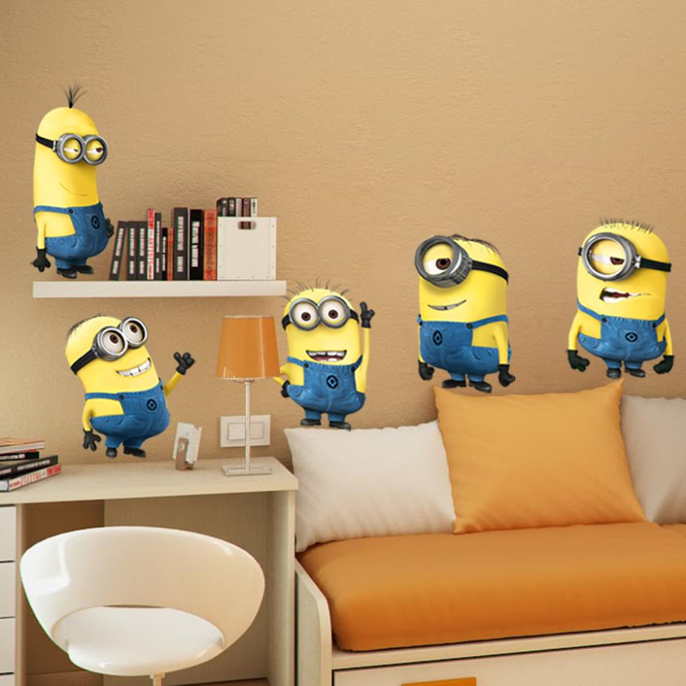 2015 DESPICABLE ME 2 wall stickers Vinyl Art decals room kid decor MINIONS Removable(China (Mainland))