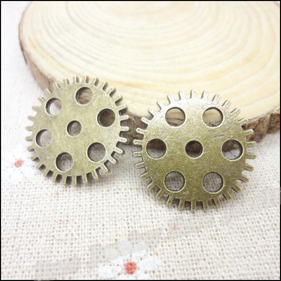 30 pcs Charms Gear Pendant Antique bronze Zinc Alloy Fit Bracelet Necklace DIY Metal Jewelry Findings(China (Mainland))