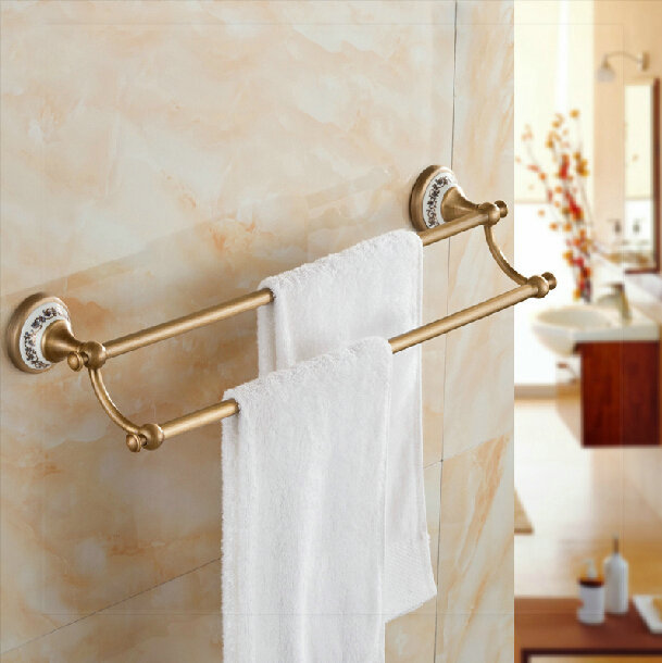 Antique Brass Towel Rack Wall Mounted Double Rod Towel Bars sink bath ...