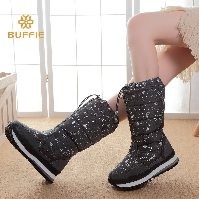 ซื้อ 2016ใหม่ในช่วงฤดูหนาวสูงผู้หญิงบู๊ทส์ที่อบอุ่นหรูหรารองเท้าผู้หญิงขนาดบวก35-42ง่ายสวมใส่ซิปขึ้นสาวสีขาวดอกไม้หิมะรองเท้า