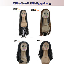 Multi Style-GEX Front Hand Knoted-Braided Lace Front Wigs Synthetic Twist Blend Full Wigs Micro Braids Afro Wigs Black Brown(China (Mainland))