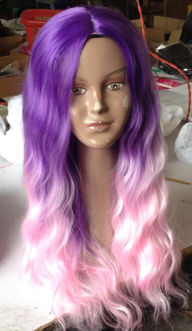 2015 new trendy ombre balayage perruque de cheveux violet rose deux tons couleur 24 long. Black Bedroom Furniture Sets. Home Design Ideas