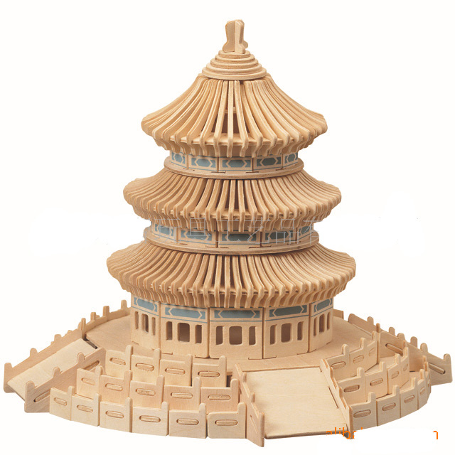 BOHS Educational Toys Wooden 3D Puzzle Temple of Heaven DIY Scale Models