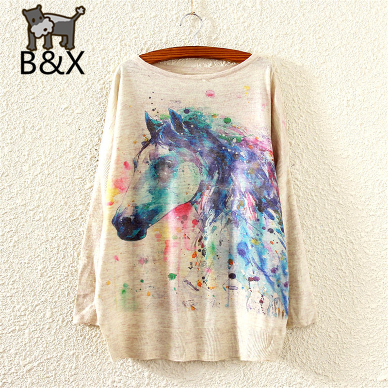 Bunny xie 2016 New Fashion Autumn Winter Clothing Women Sweater And Pullover Long Batwing Sleeve Jumper Knitwear Horse Print(China (Mainland))