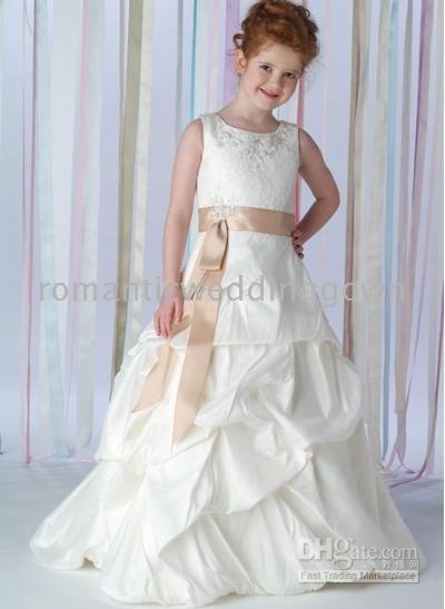 Girl Dresses &dancing party focus/wedding gown/white/ivory/bone/pink/red/yellow/380 New style Flower