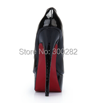Eur:40-45 46 47 Spring 16cm thin heels sexy CD Patent Leather red club pumps women's wedding shoes,drop shipping