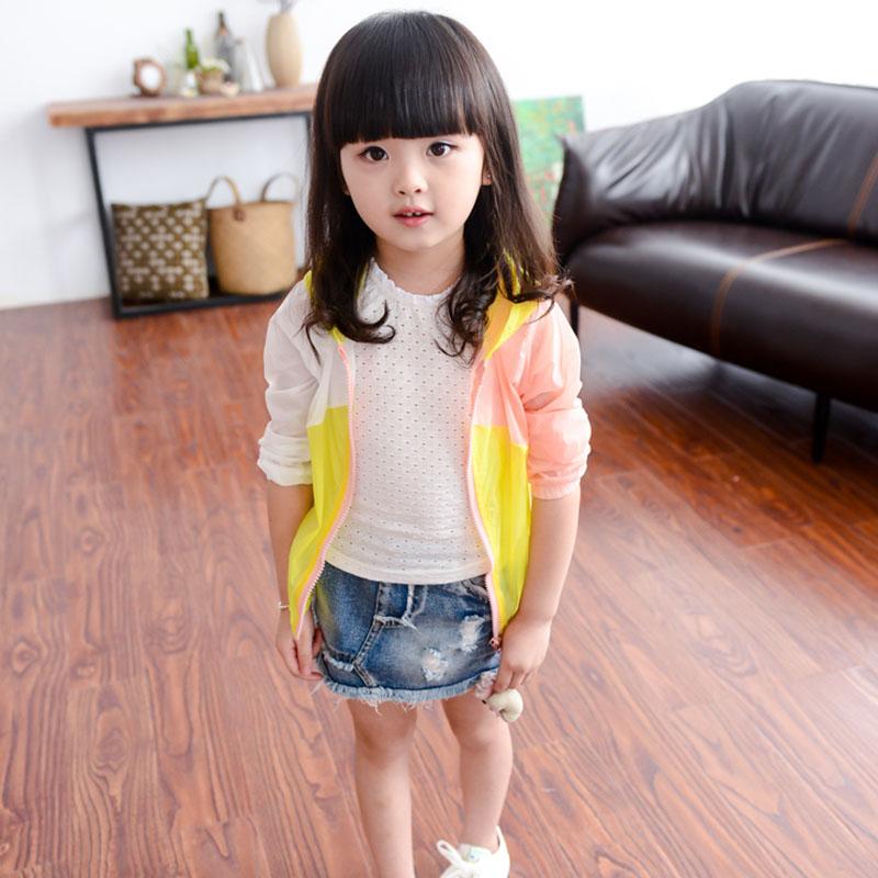 2016 Summer Girls Fashion Jacket Clothes Wholesale Multicolor Children UV Resistance Clothing Casual Korean Kid Girl Coat SL-30(China (Mainland))