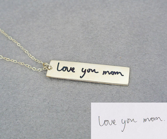 Popular Design Handwriting Bar Necklace Love You Mom Pendant Necklace Personal Fashion Jewelry Engraved Bar for Best Friends(China (Mainland))