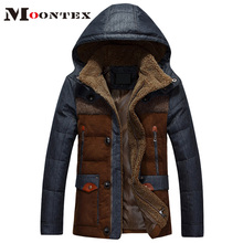 jaqueta masculina thick male down jacket Men fashion hooded down coat patchwork denim parka man wholesale(China (Mainland))