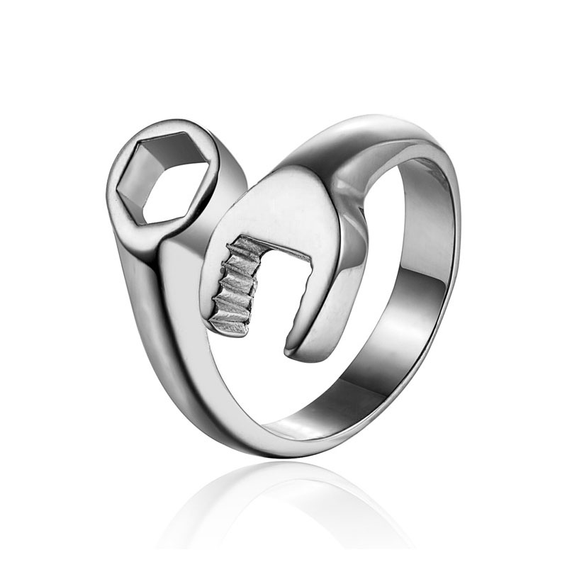 Vintage Cool Mechanic Spanner Wrench Stainless Steel Mens Ring Punk Style Motorcycle Biker Polishing Rings for Women Size 8-13(China (Mainland))