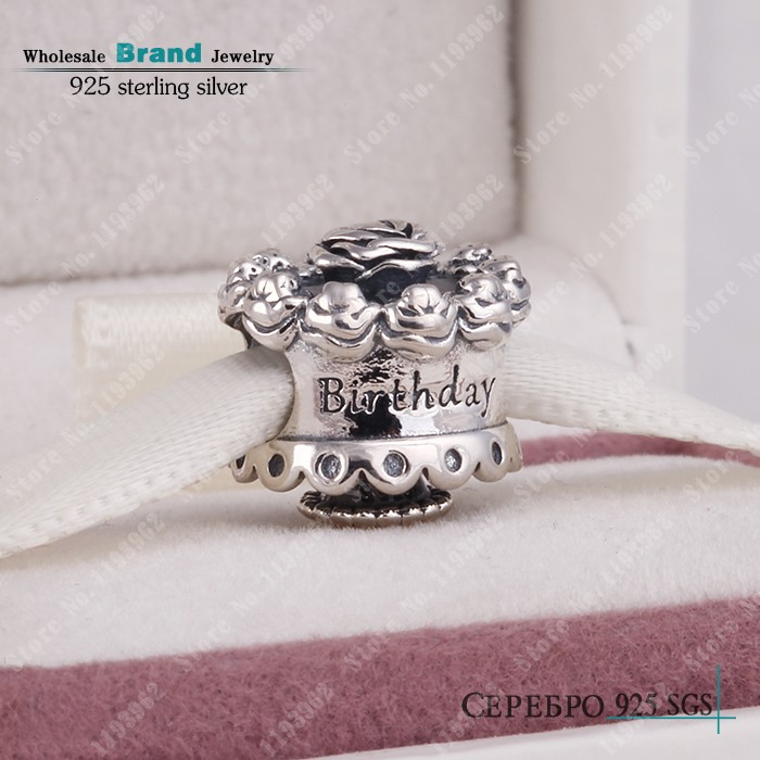 2014 new 925 Silver Happy Birthday Cake charm for Charm bracelets jewelry making best gift <br><br>Aliexpress