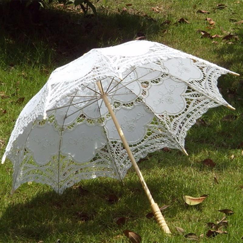 2015 Bridal Umbrella White Lace Parasol Handmade Summer Battenburg Lace Wedding Umbrella Wedding