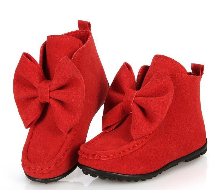 New 2015 fashion shoes girl butterfly knot low Boots For Children winter shoe Kids Snow Boots Sneakers size 21-36(China (Mainland))