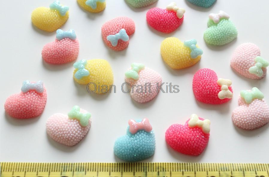 250pcs mixed lovely Matte Pastel heart gem Cabochons 20mm Cell phone decor, hair clips, embellishment, DIY(China (Mainland))