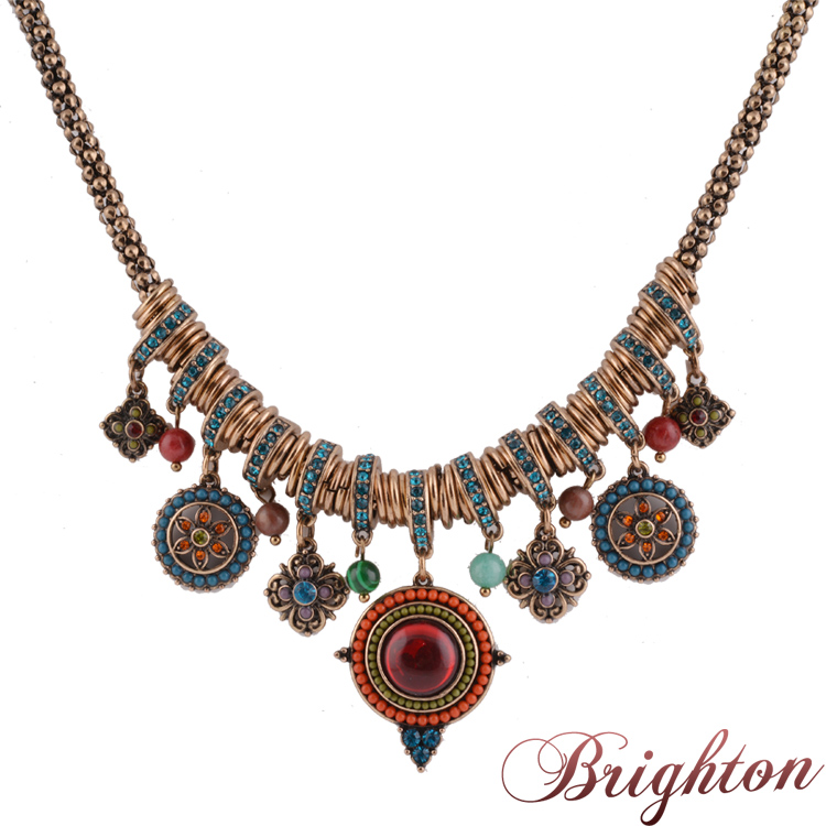 2015 New Vintage Jewelry Choker Necklace For Women Bohemai Style Gold Plated Ethnic Colourful Beads Pendant