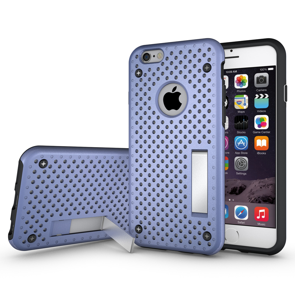 Fashion For iPhone 6/6S Plus 5.5 inch Heat Radiation Function Slim Dual Armor Net Design Mesh PC+TPU Phone Case Back Cover Stand(China (Mainland))