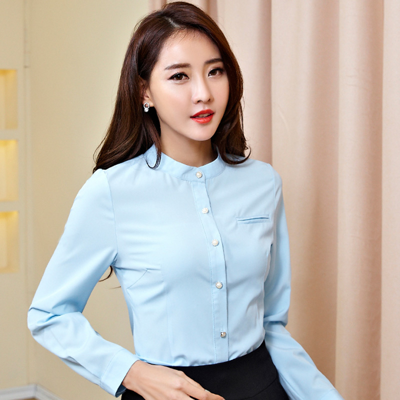 Beauty Chiffon Lady Fashion White Shirts Plus Size S-4XL OL Formal Wear 2016 Korean Girls Career Casual Blouses - Natural Clothing store