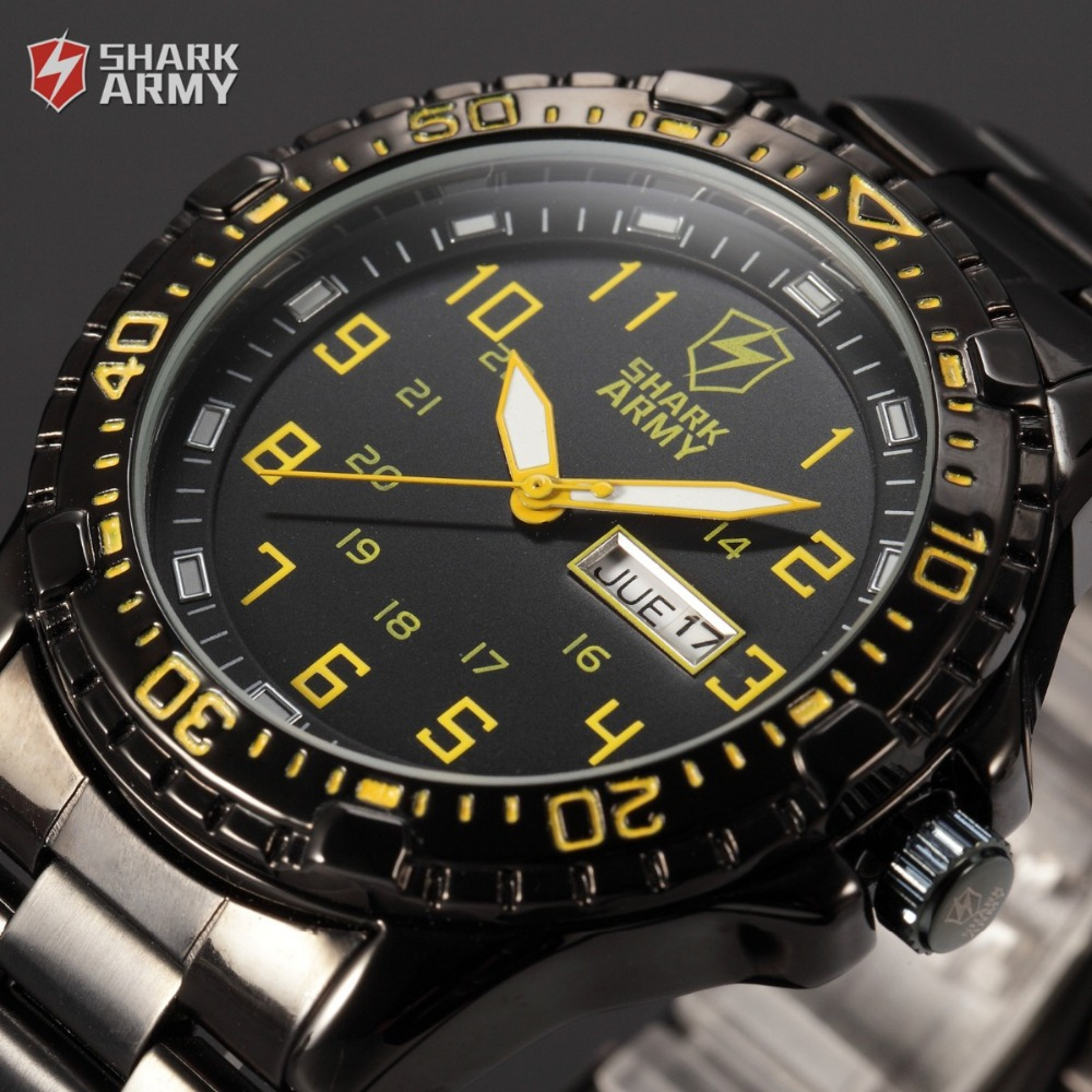 Shark Army ARIES Series Auto Date Display Calendar Black Yellow Outdoor Stainless Male Clock Men Full Steel Sport Watch / SAW092(China (Mainland))