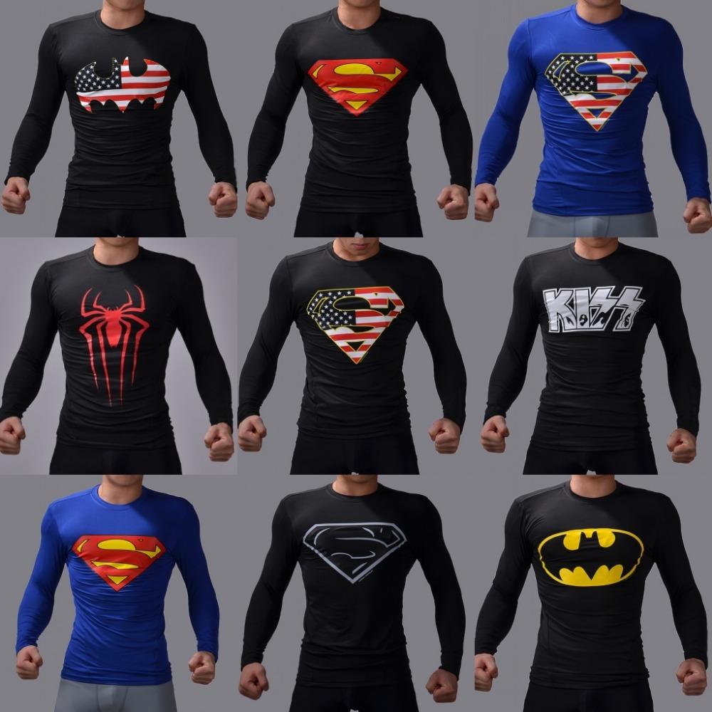 New 2016 t-shirts men batman designers quick dry compression T-shirt tee shirt slim fitness sport shirt S - XXL size(China (Mainland))