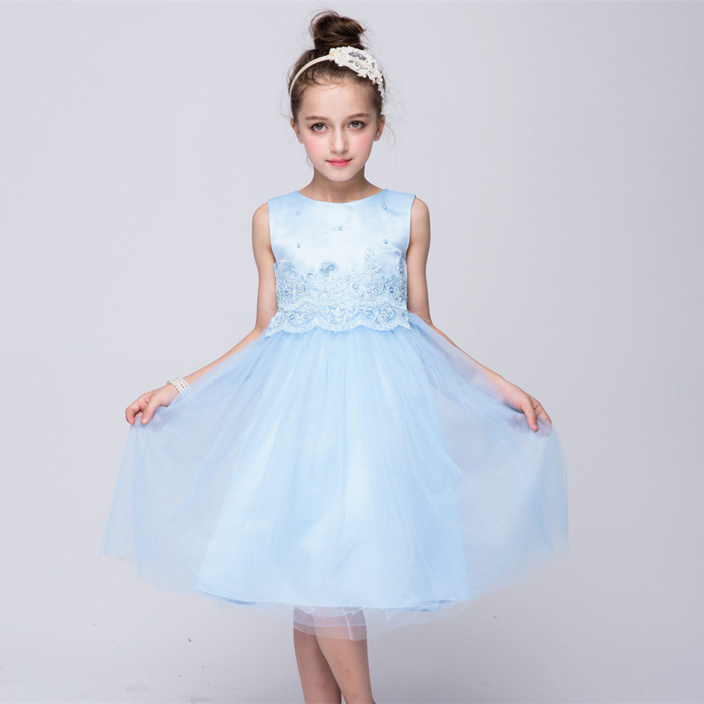 2016 Teenage Girls Dresses Girls Blue Princess Dress Fall