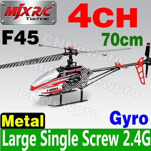 Color Box Largest 70cm 4CH 2.4GHz Single Blade Screw MJX F45 1500mAh Gyro Video Camera RC Helicopter Metal LED Wholesale(China (Mainland))