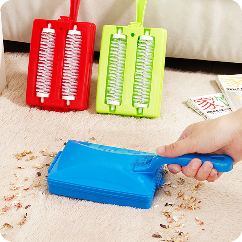 Household double roller dusting cleaning brush Carpet Table sofa Brush Plastic Handheld Crumb Sweeper Dirt Cleaner cleaning tool(China (Mainland))