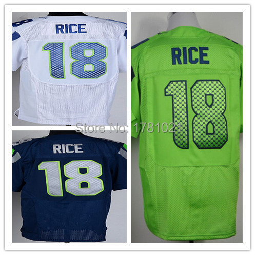 Wholesale Best Quality Men's Elite American Football Jerseys #18 Sidney Rice Jerseys Navy Blue White Green Stitched Rugby Shirt(China (Mainland))