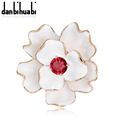 New Fashion Enamel brooch jewelry pearl brooch flower and leaf brooch Memorial Party Gifts