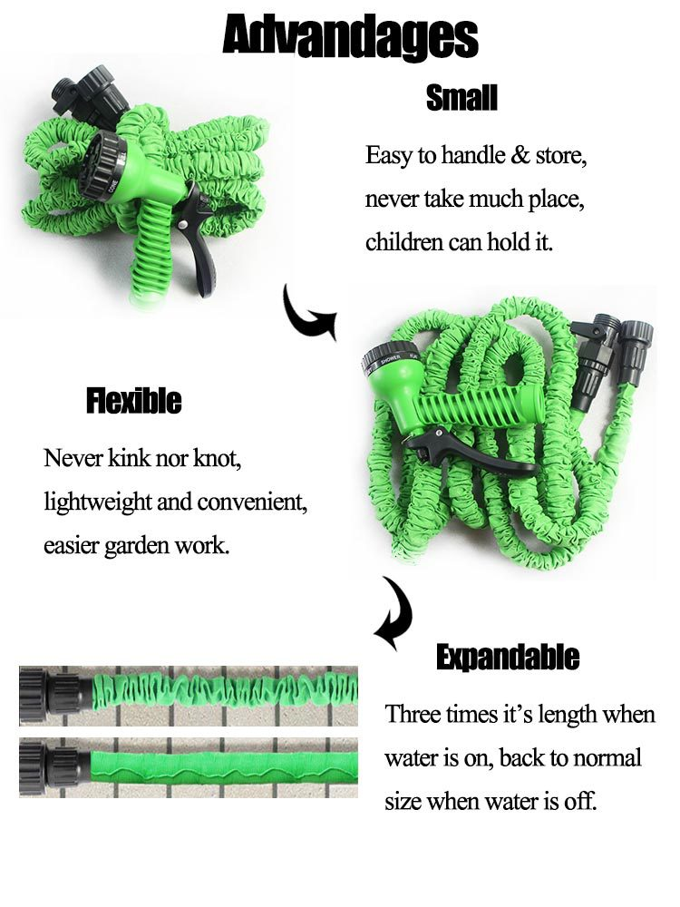 CE Green 25FT Magic Watering Hoses Mangueira Garden Water Hose Car Wash Watering Expandable Water Hose As Seen On TV (6)