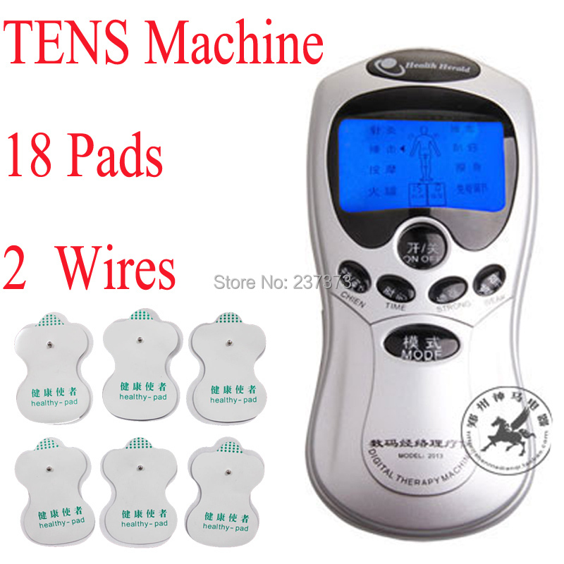Free shipping Tens/Acupuncture/Digital Therapy massager Machine with LCD + 18 electrode pads + 2 in 1 & 4 in 1 electrode cable(China (Mainland))