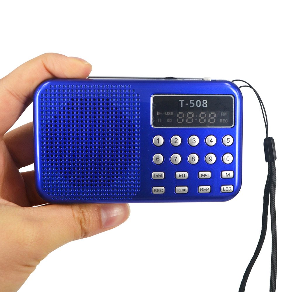 Mini Portable 50mm Internal utility LED Stereo FM Radio Speaker Support USB TF Card MP3 Music Player T508 Magnetic Speaker(China (Mainland))