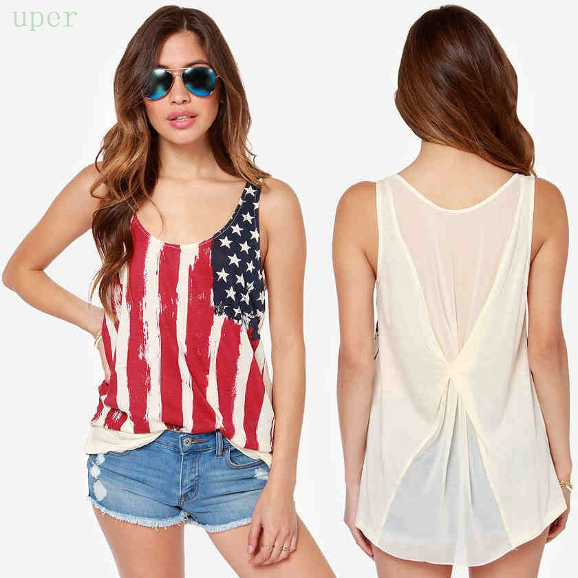 Fashion women ladies sexy loose fit chiffon american flag for Pattern shirts for women