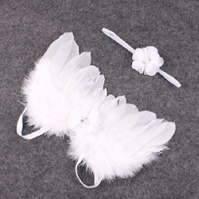 Buy Angel Wings Headband Feather Wings Lovely Girl Flower Lace Hairband Photo Shoot Hair Accessories Newborns Photography Props for $2.12 in AliExpress store