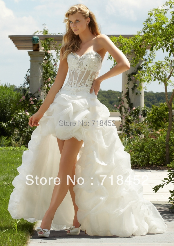 2013 see through wedding dress beach front short long back for Sexy high low wedding dresses