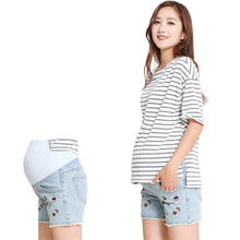 Maternity Shorts Denim Prop Belly Shorts Embroidery Regular Casual Summer Pregnant Clothing Jeans Pants