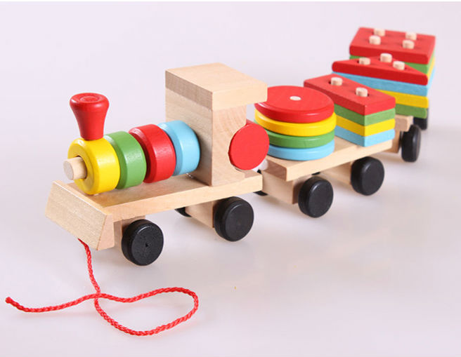 The Shape Of Three Section Blocks Cars Small Tractor Train Environmental Protection Wooden Toy Train TO15106(China (Mainland))