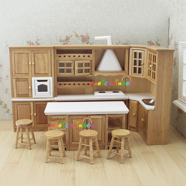 Doll house kitchen furniture wooden toys cabinet range for Kitchen set for 1 year old