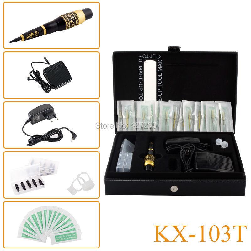 Nueva KX-103T dragón permanente maquillaje tatuaje de la ceja del mosaico de la máquina Kit de la pluma cosmética Pedal agujas consejos de alimentación envío gratis(China (Mainland))