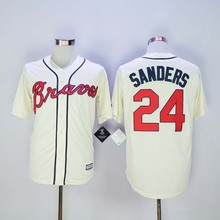 Atlanta Braves #24 Deion Sanders Jersey White Home Gray Road Navy Blue Red Cream Stitched Deion Sanders Baseball Jerseys(China (Mainland))