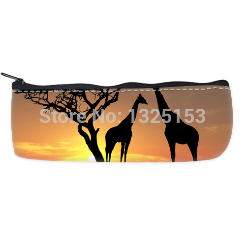 Custom Beautiful Sunset With two Giraffes Pen Pencil Bag Case(China (Mainland))
