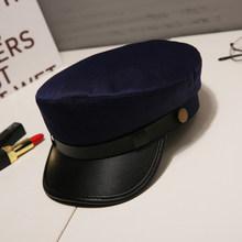 الأزياء بو الجلود قبعة عسكرية الخريف الشتاء الصوف بحار قبعة للنساء الرجال الأسود شقة أعلى الإناث السفر كاديت قبعة الكابتن كاب(China)