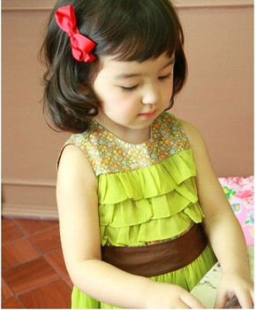 Hot Sale Retail Product!!! new Girls dress kids dress fit 2-10 yrs childrens sleeveless style free shipping GQ-043