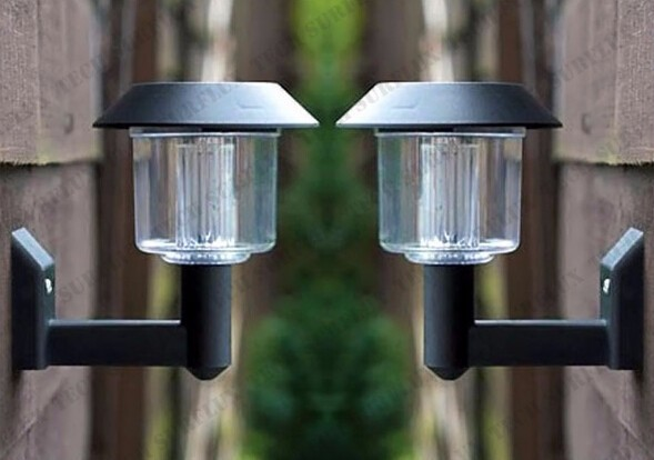 Free by DHL 1PCS New Energy Solar Power Wall Light Fence panel LED Lamp Outdoor Lighting