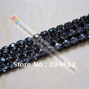 Free shipping,50yards/lot,3 rows crystal rhinestone mesh banding with Original Czech Black Diamond for wedding dress & cakes