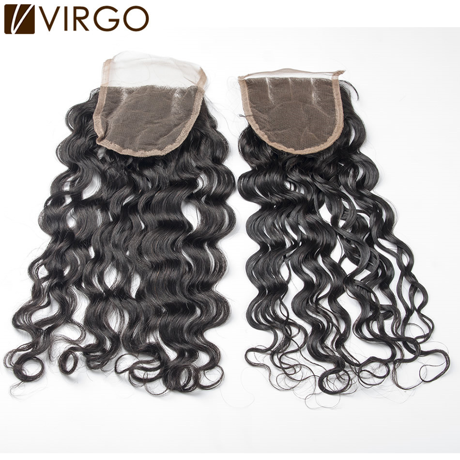 Brazilian Virgin Hair Lace Closure Unprocessed Virgin Brazilian Hair Water Wave Natural Black Hair 1pc Free Style Human Hair<br><br>Aliexpress